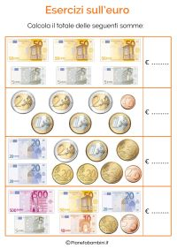 Schede didattiche con tabelle su tutte le monete e ...