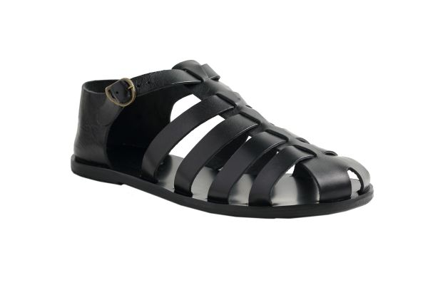 Ancient Greek Sandals Men Black Homer Leather