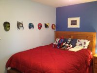 Avenger's boys bedroom. Use masks as decoration by hanging