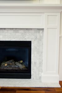 carrara tile, horizontal and vertical and fireplace ...