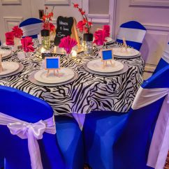 Royal Blue Chair Covers Bath Spandex With White Satin