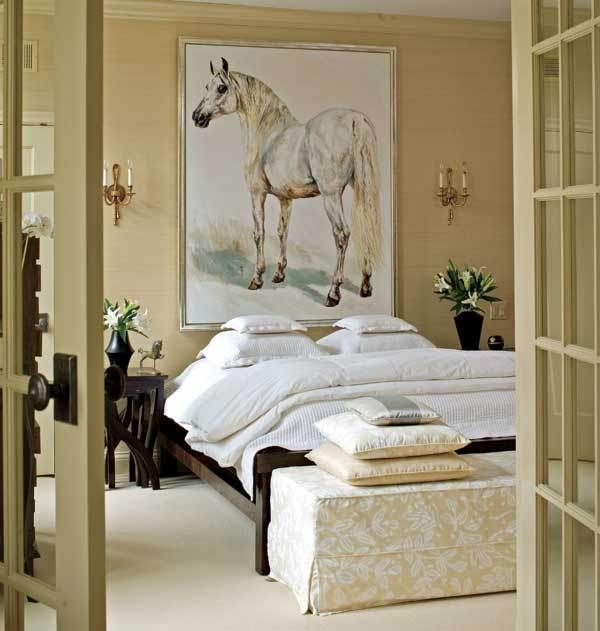 bedroom-with-french-doors-horse-painting-art-neutral-colors