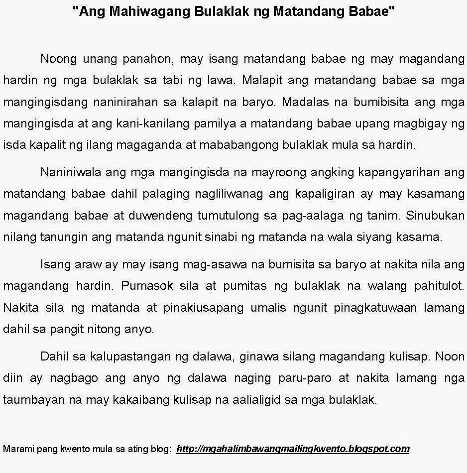 Tagalog Mga Pambata Ng Maikling Kwento