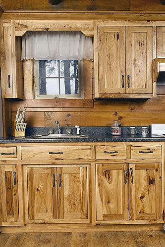 assembledhickorykitchencabinets  Hickory Wood Kitchen
