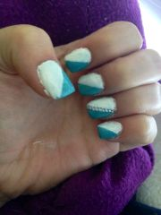 mint blue and white accent acrylic