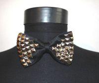 Studded Black Bow tie Rock Punk Steampunk Goth | Black bow ...