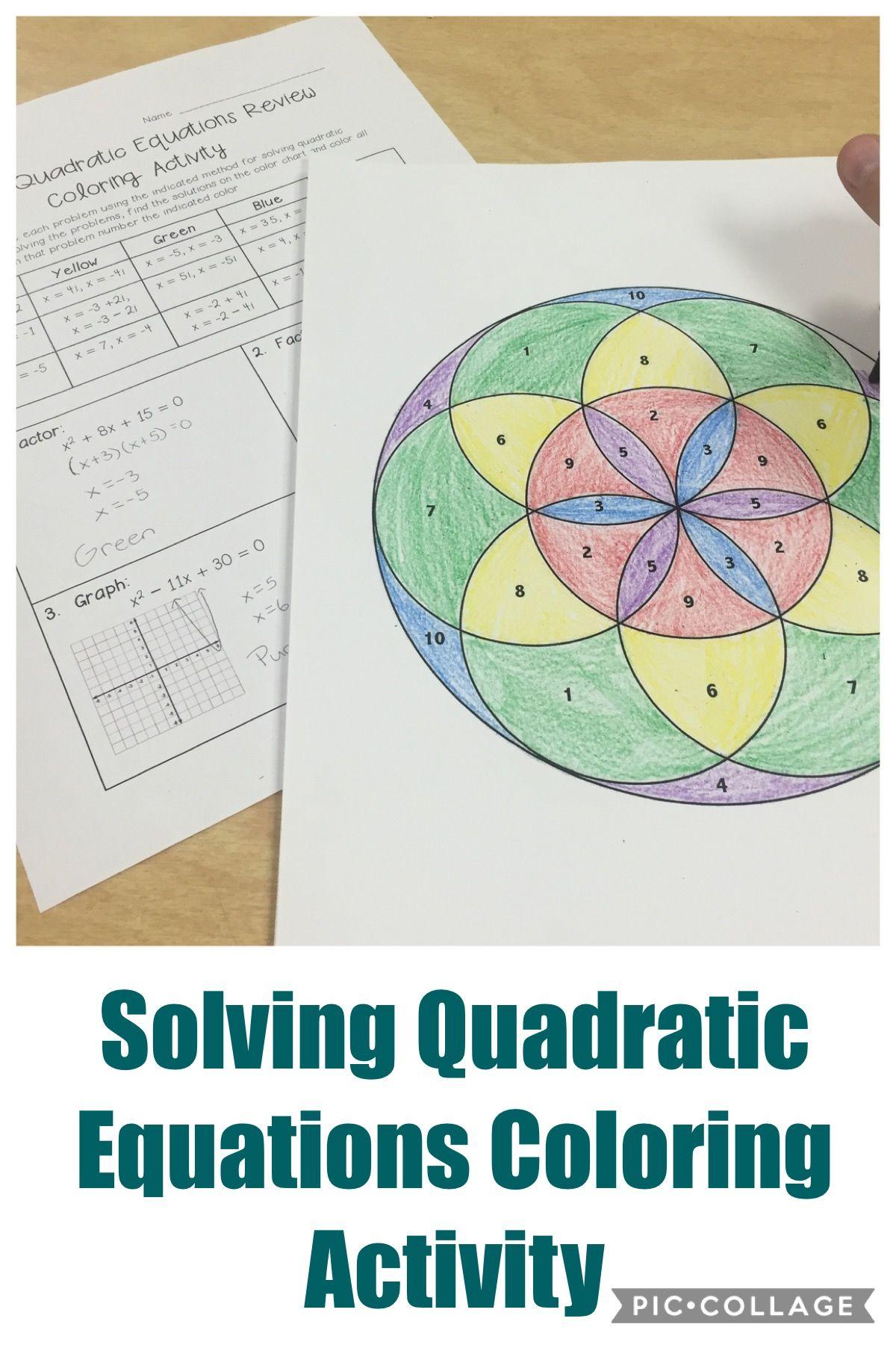 Solving Quadratic Equations Review Coloring Activity