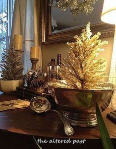 Vintage silver and gold christmas decorations on the bar repurposing upcycling seasonal holiday  also how to make metallic starburst rh nz pinterest