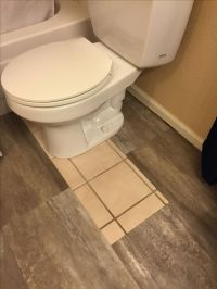 DIY Luxury vinyl Tile Cover ugly old tile! | bathroom redo ...