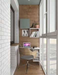 An industrial home office with  small desk built in shelves and modern chair also pin by coy koi on balcony idea pinterest balconies interiors rh