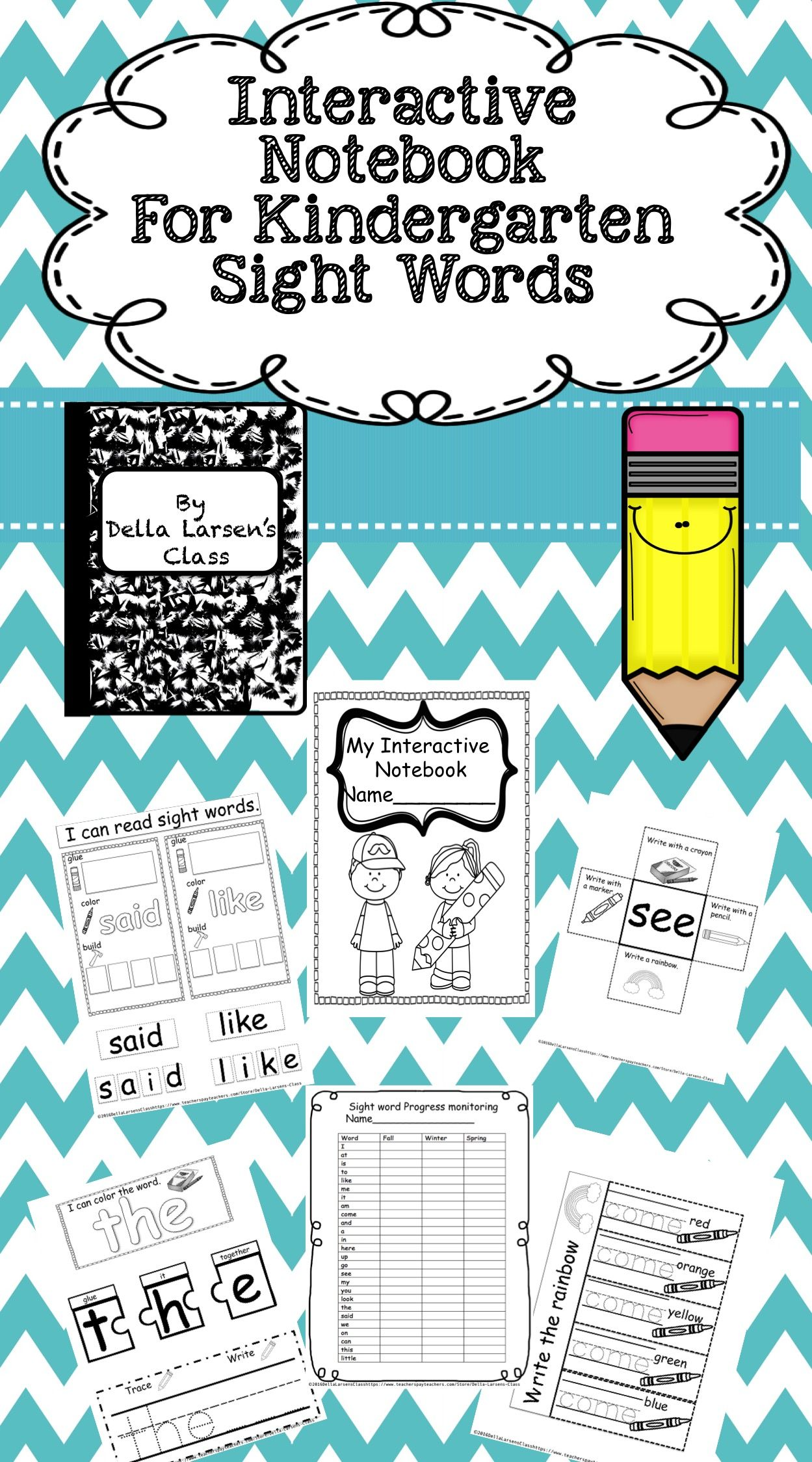 Sight Word Interactive Notebook For Kindergarten