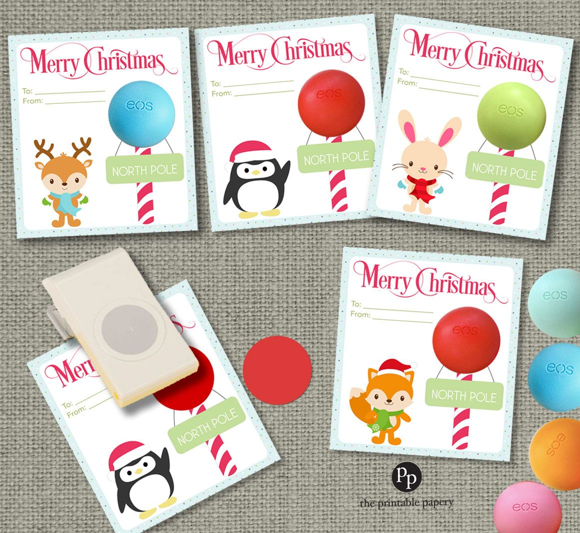 Holiday Christmas Cards T Tags For Eos Lip Balm Ts