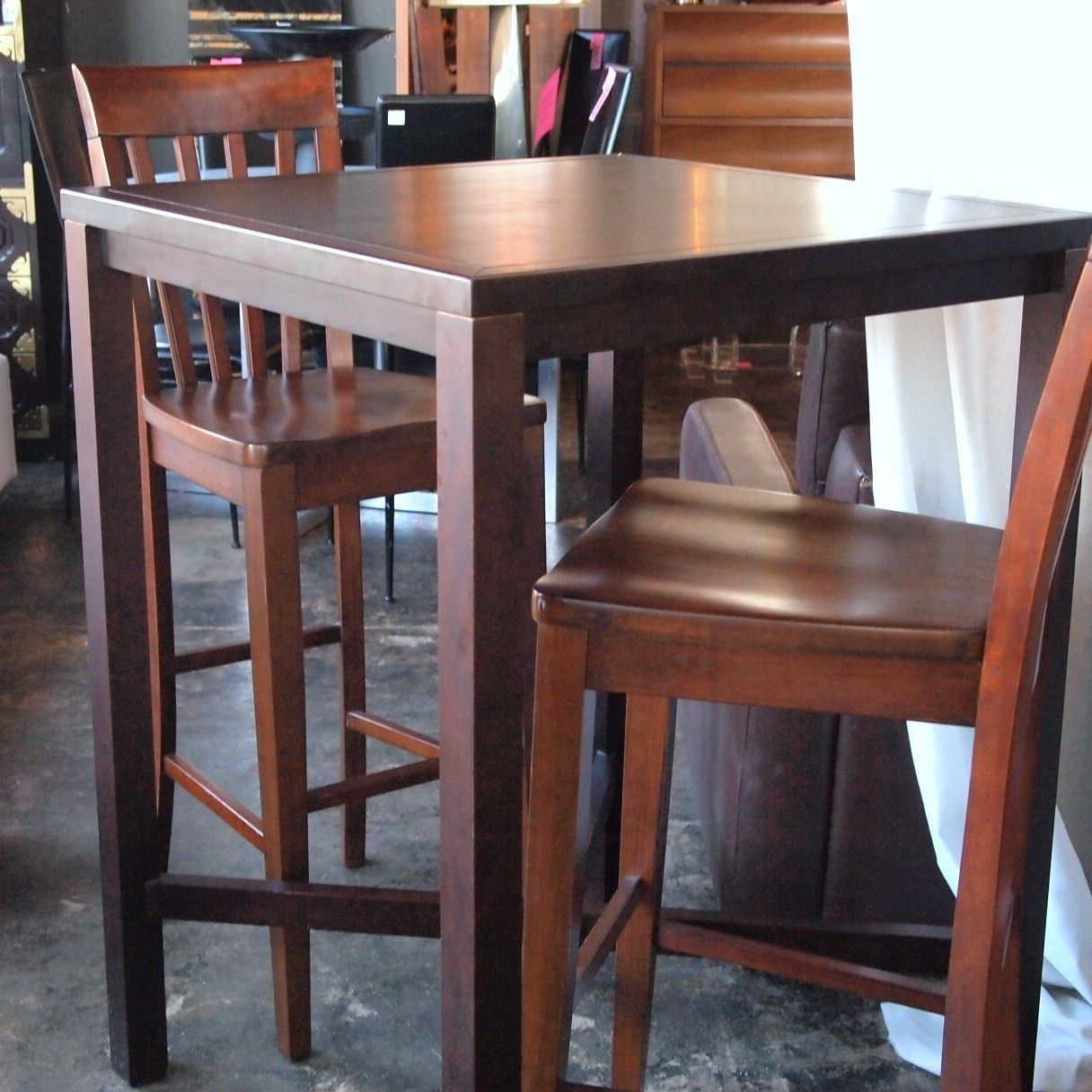 High Top Table And Chairs 10759 High Top Bar Style Wood Table With 2 Chairs The