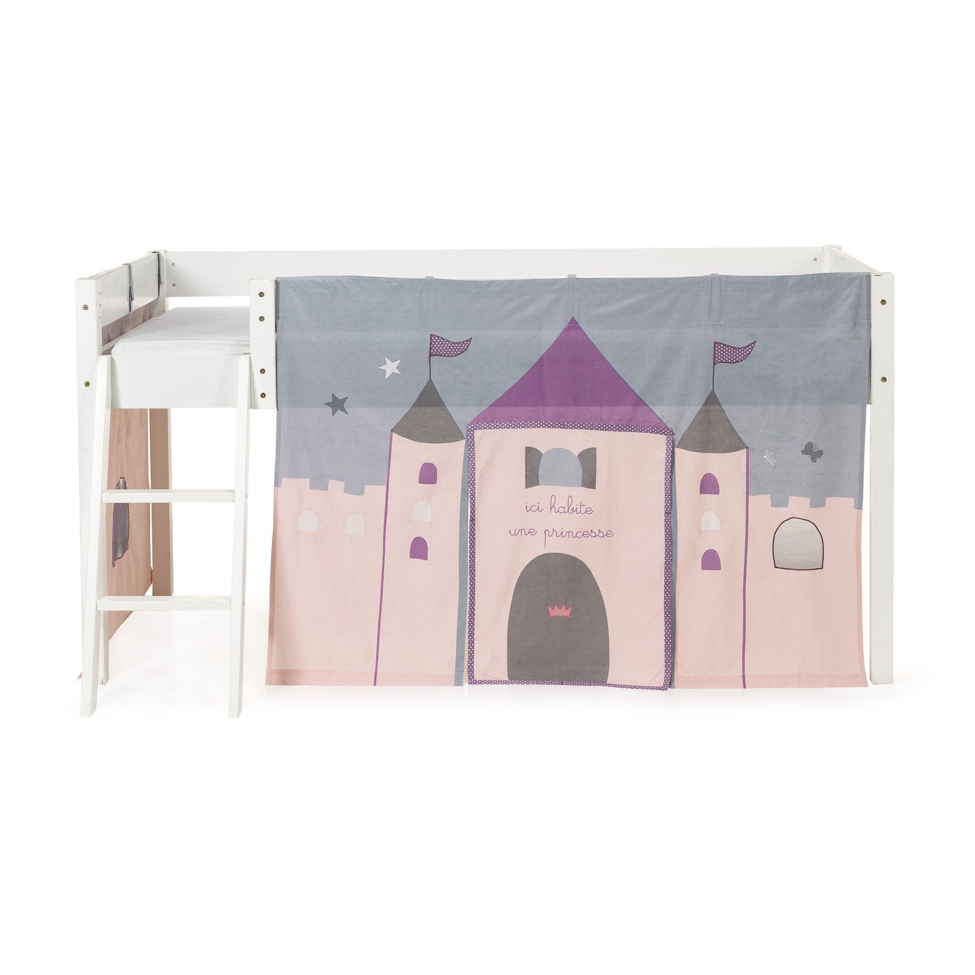 Tente De Lit Mi Haut Pour Enfant Rose Et Gris Princesse