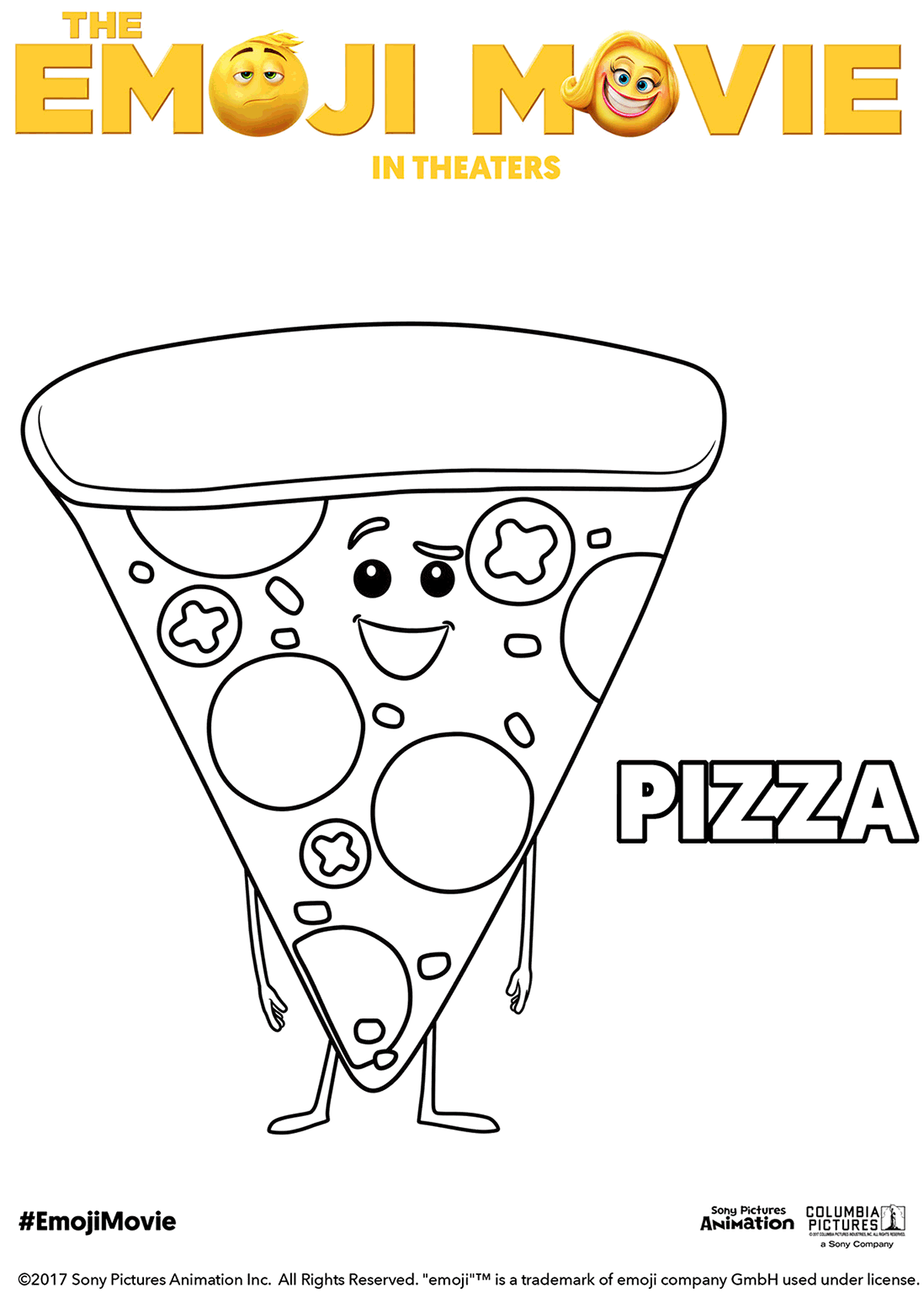 The Emoji Movie Pizza Coloring Page