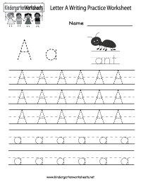 Kindergarten Letter A Writing Practice Worksheet Printable ...