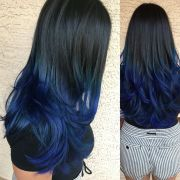 black blue ombre hair tips