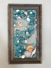 Beach Glass Mermaid and Starfish in Barnwood Frame Beach ...