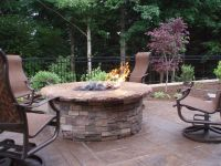 Built in gas fire pit with concrete cap and cultured stone ...