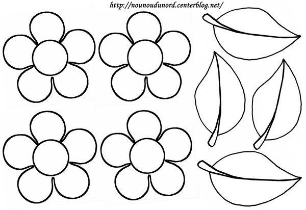 Coloriage fleurs et feuilles dessiné par nounoudunord