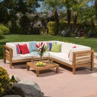 Oana Outdoor 4-Piece Acacia Wood Sectional Sofa Set with ...