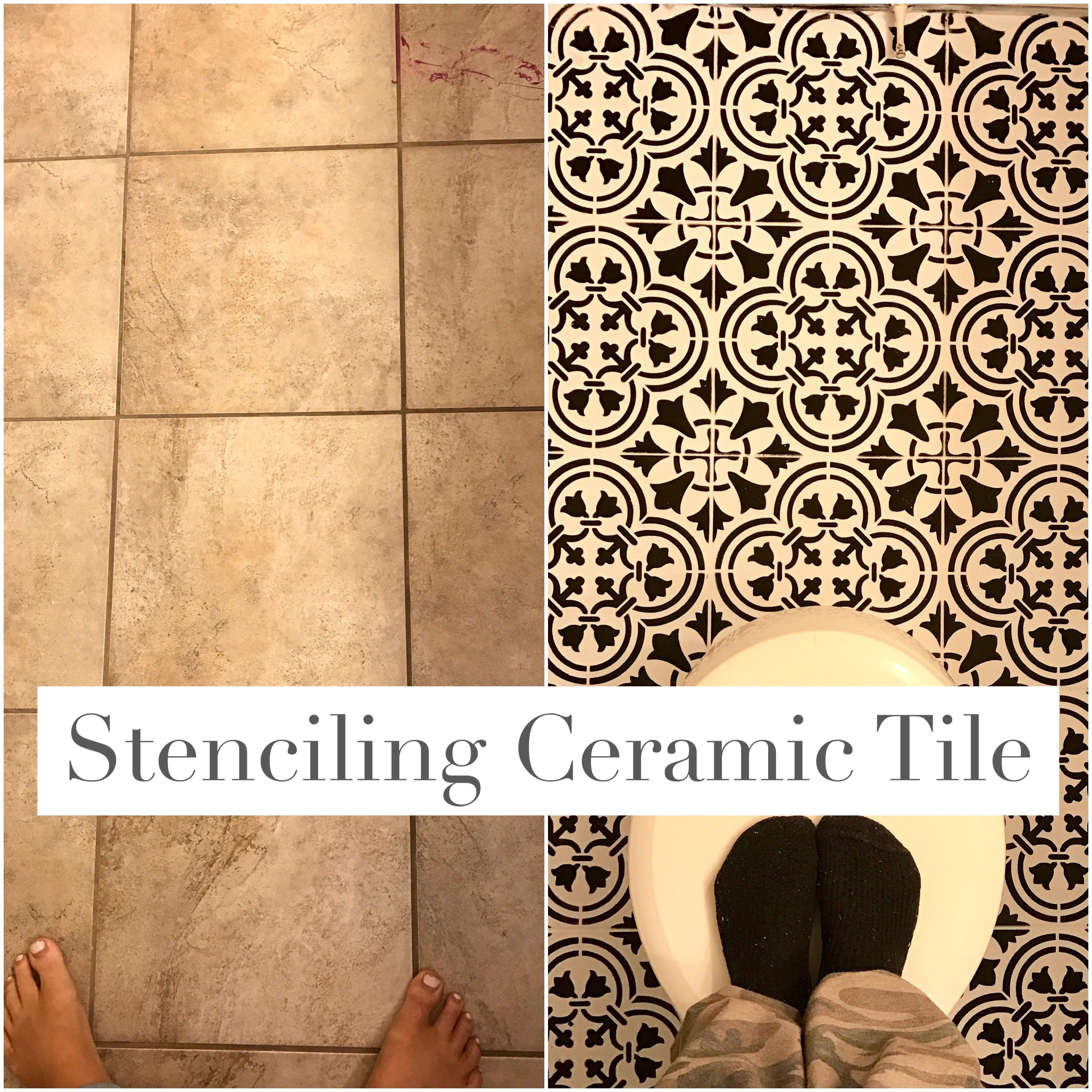 Paint ceramic tile with stencil and chalk paint. How to