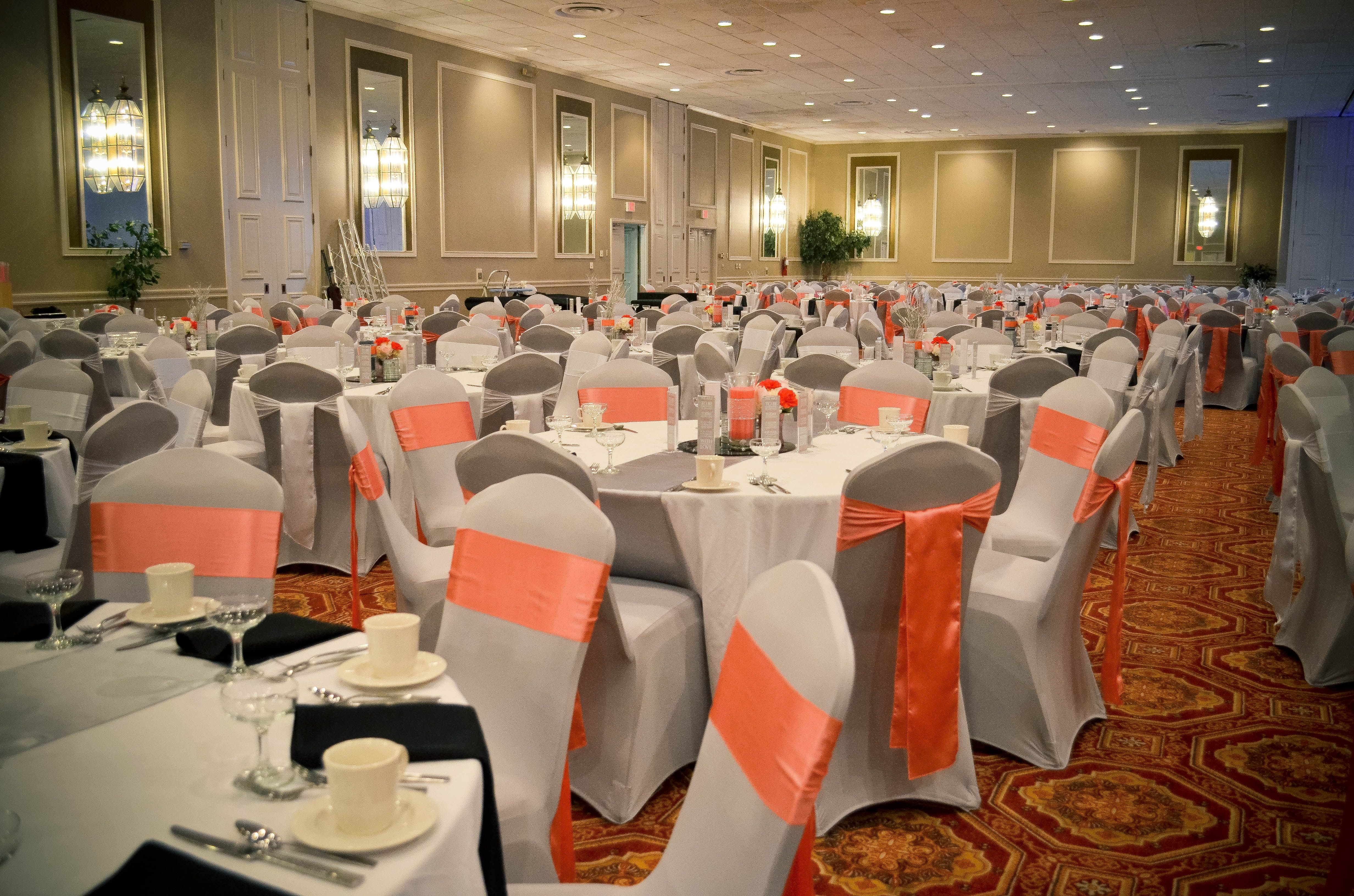 coral sashes for wedding chairs chair into bed silver grey spandex covers and white satin