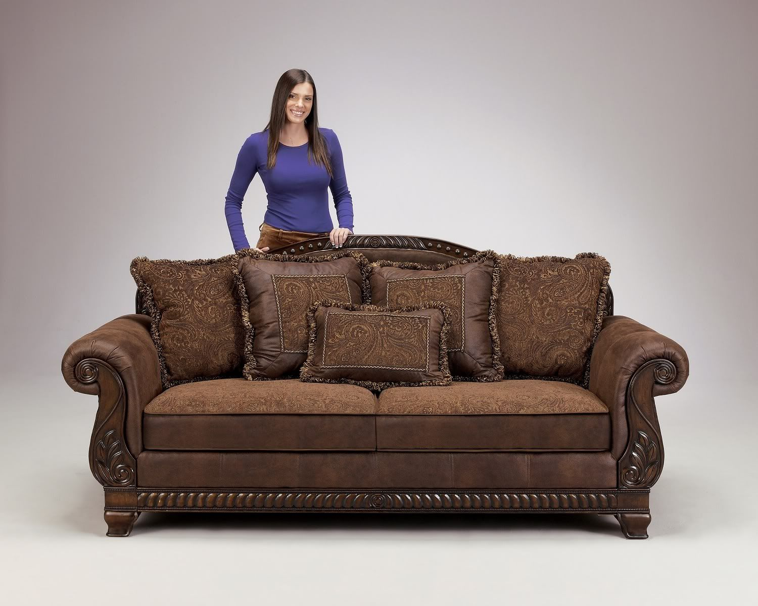 s sofa set sectional under 2000 truffle traditional old world couch wood trim