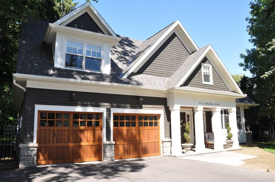 Grey Siding Wood Garage Doors White Trim Exterior Remodel
