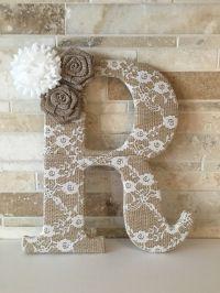 Burlap and lace 9.5 lace burlap letter by ...