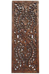 Floral Wood Carved Wall Panel. Wall Hanging. Asian Home ...