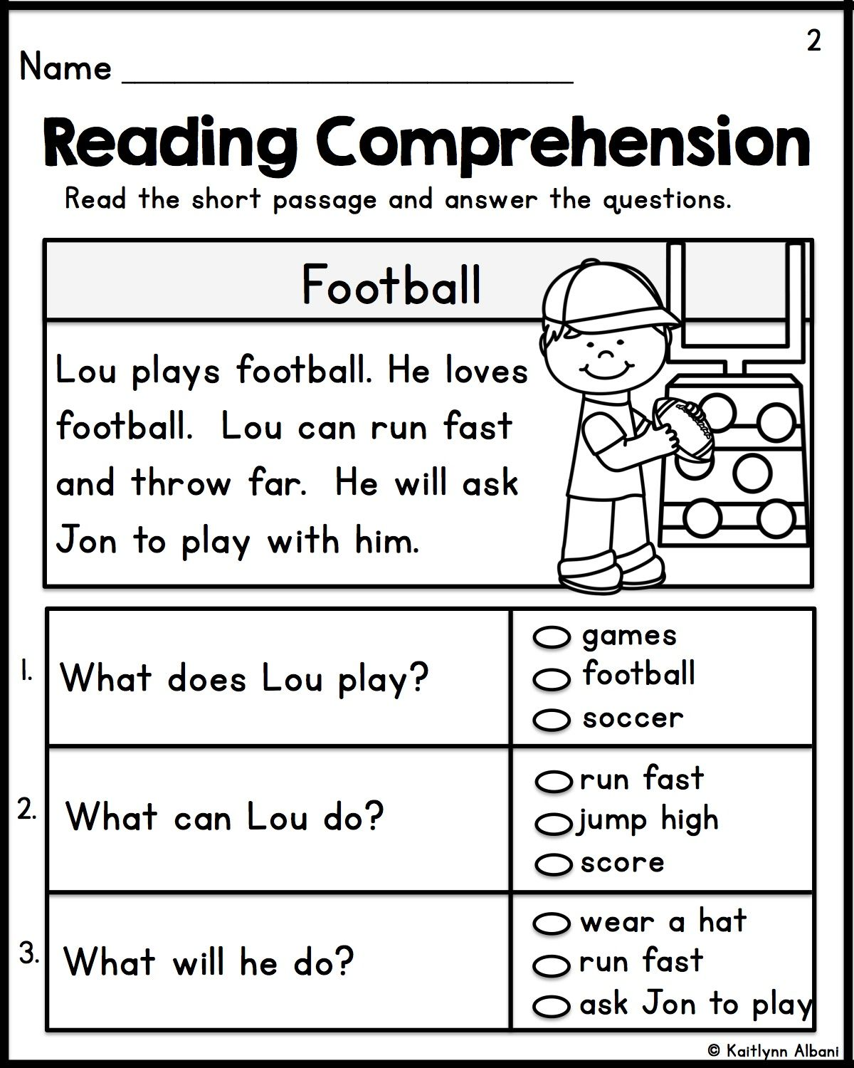 Kindergarten Reading Comprehension Passages
