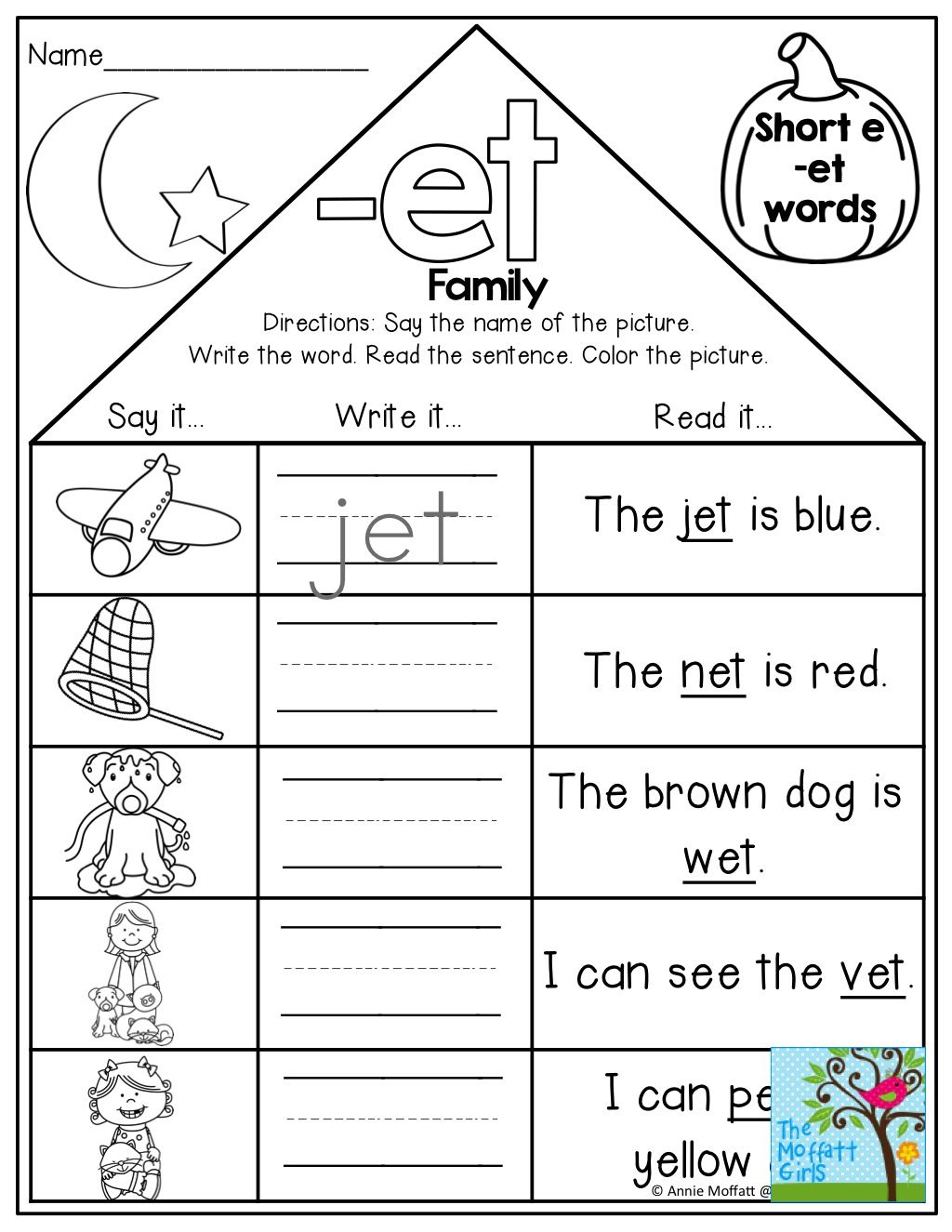 Word Families Kindergarten Worksheet