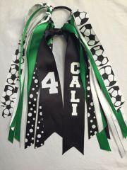 soccer hair ribbons custom
