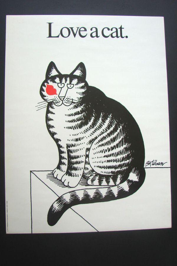 """Vintage Kliban Cat Poster """"love Cat"""" Excellent Condition"""