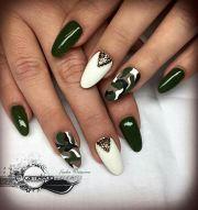 almond nails army green nail
