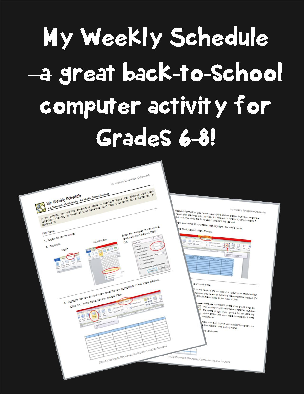 My Weekly Schedule A Microsoft Word Activity For Grades 6 8