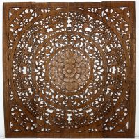 Handmade Teak Wood Lotus Wall Panels (Thailand) by ...