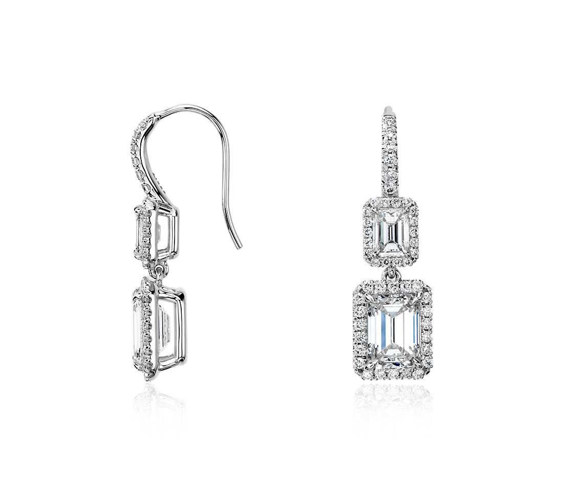 Enchanting Emerald Cut Diamond Halo Double Drop Earrings