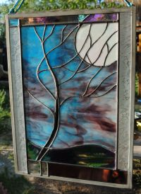 Stained Glass Window Panel Moonlit Tree stormy night ...