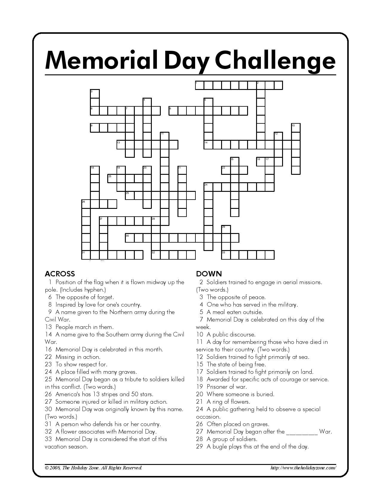 Memorial Day Kids Crossword Puzzle Courtesy Of The