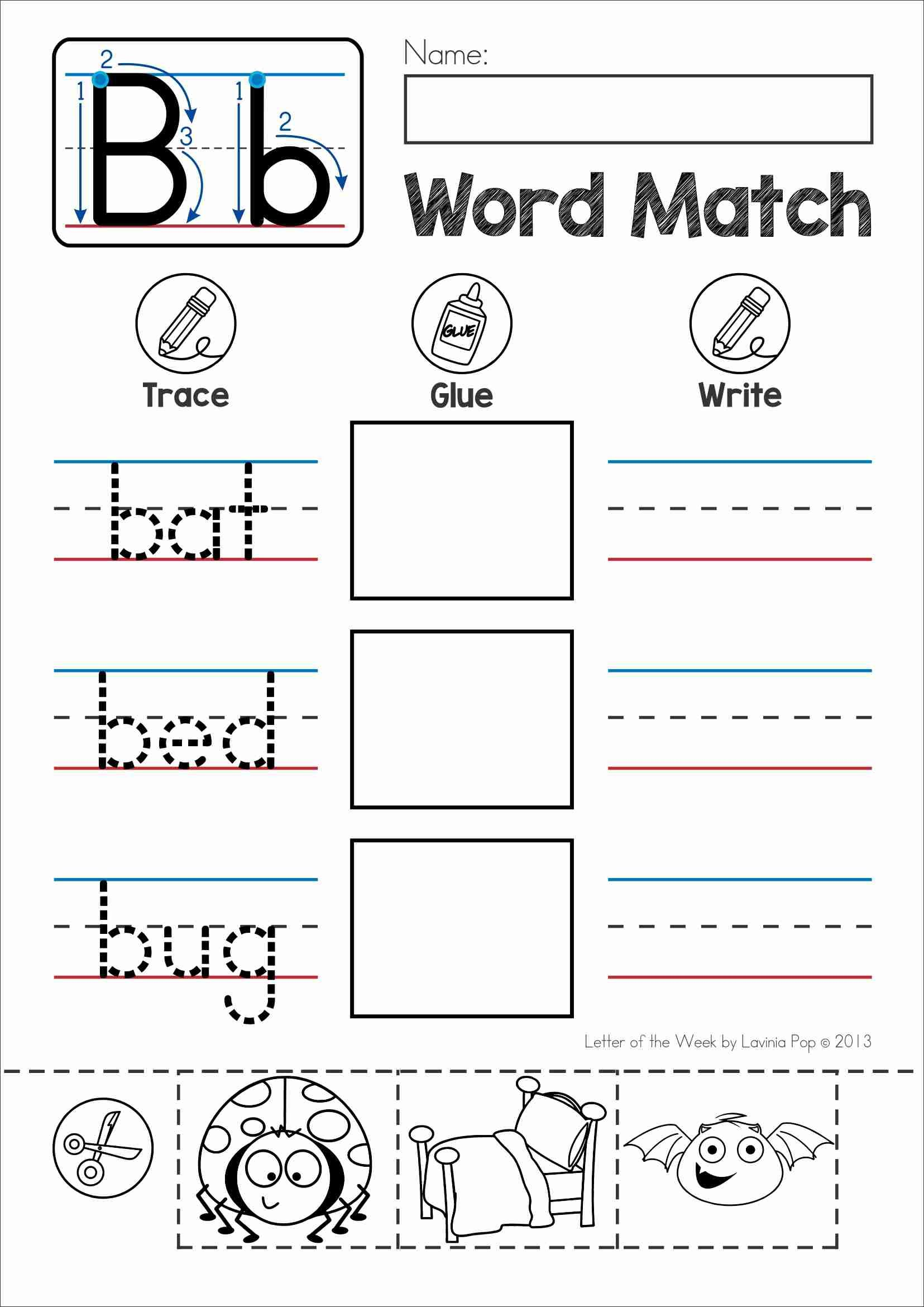 Free Phonics Letter Of The Week B Word Match Cut And