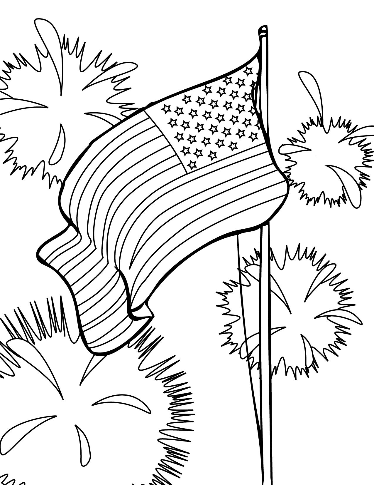 Fourth of july (usa) coloring pages for preschool