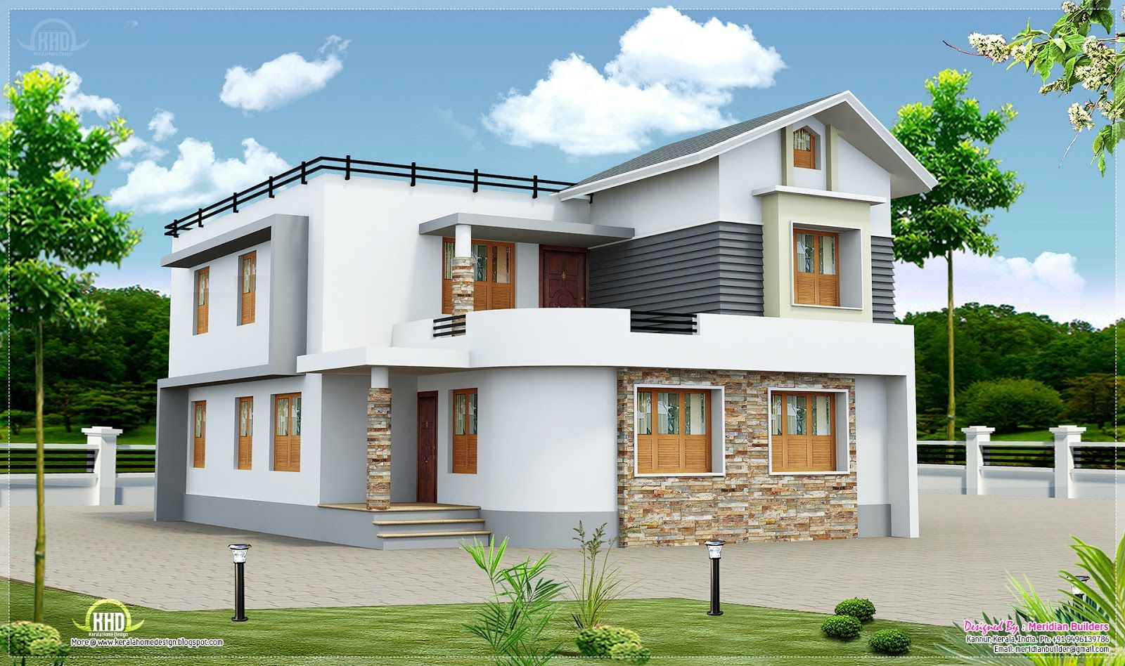 Exterior Floor House Design Ideas With Two Floors And White Wall