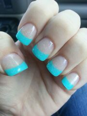 bright blue french tip nails
