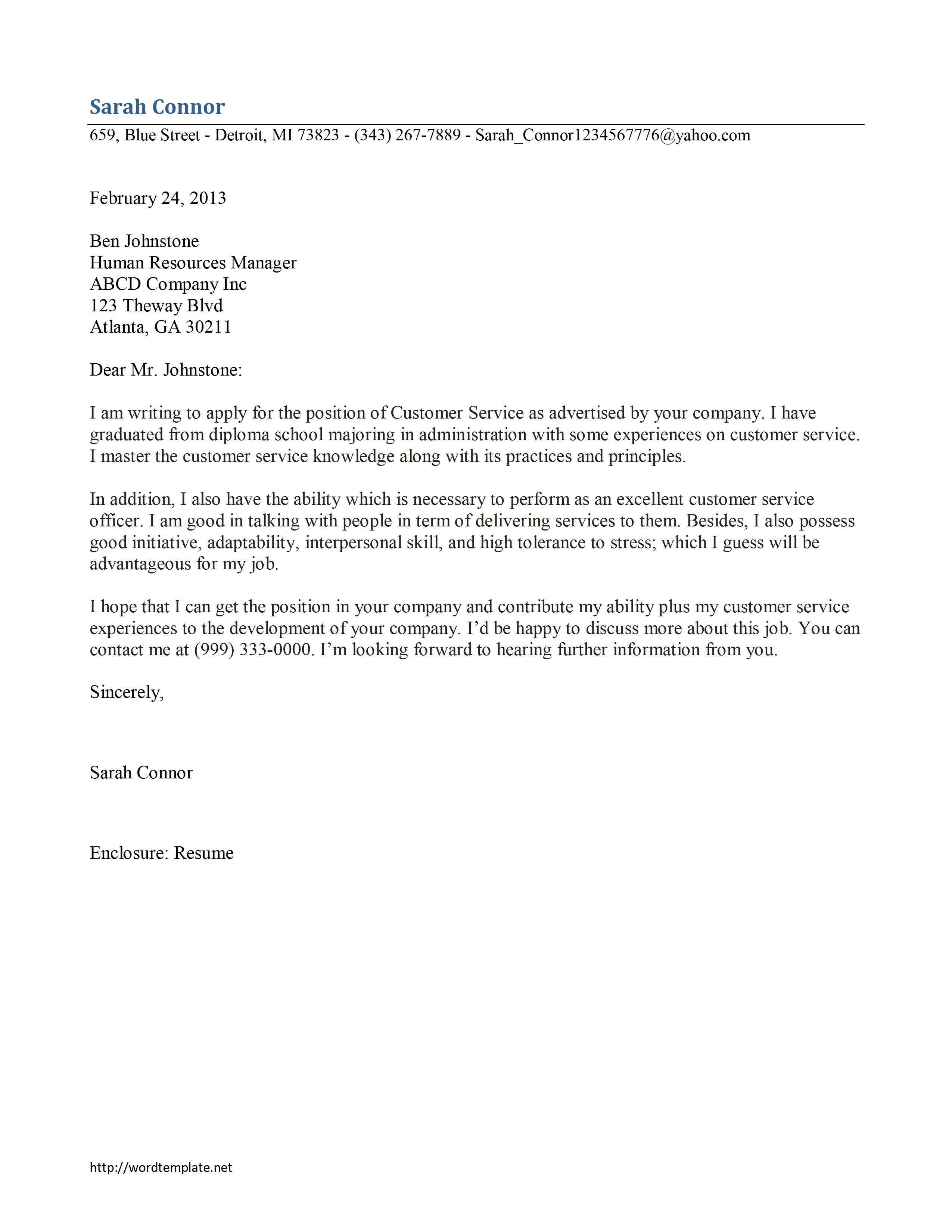 Customer Service Cover Letter Template Free Microsoft Word