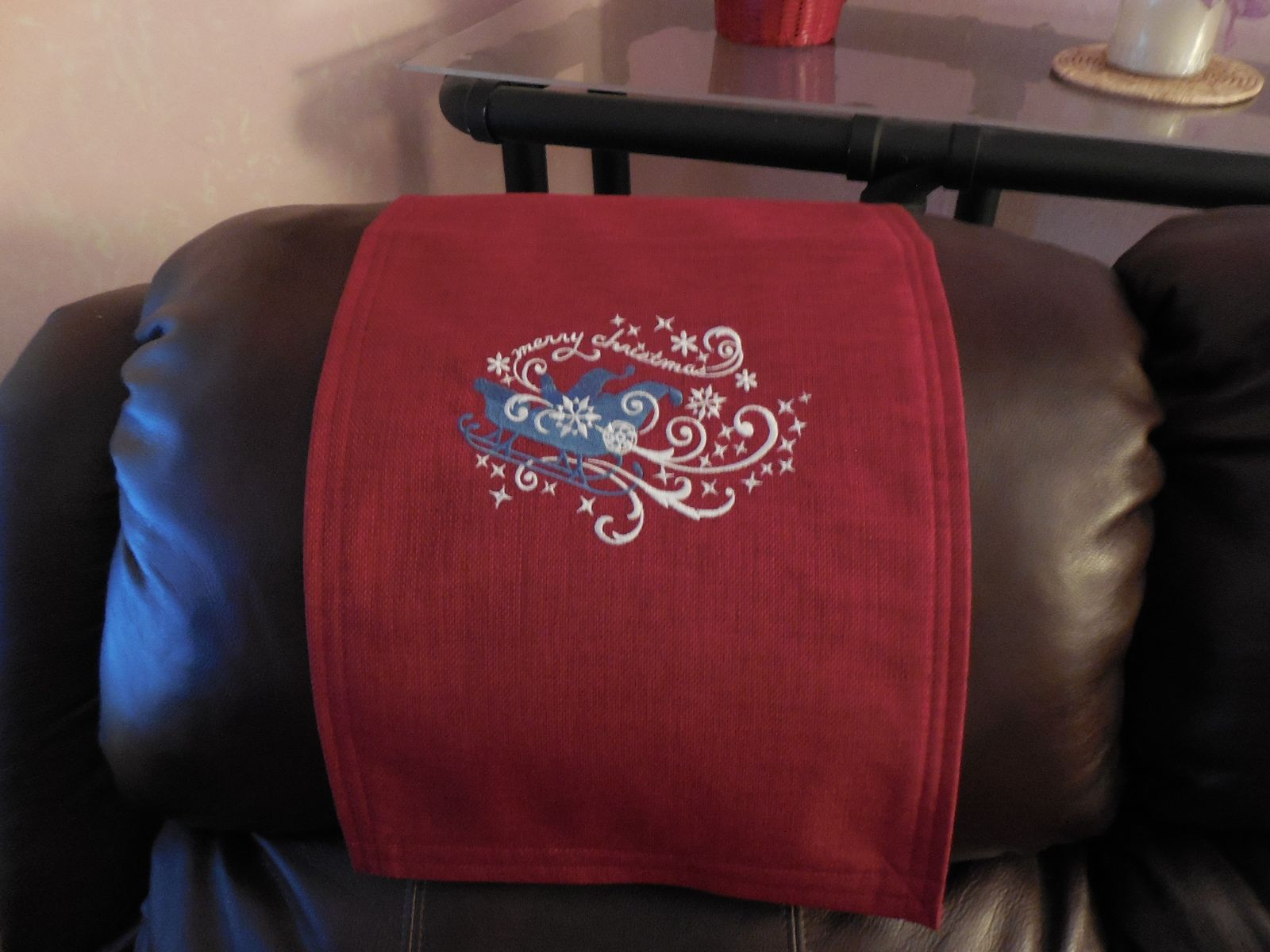 chair covers for headrest banquet in bulk recliner cover sleigh machine embroidered