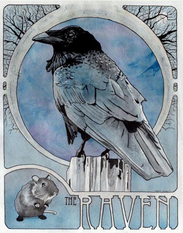 """Raven - 11"""" X 14"""" Archival Art Nouveau Print Nature"""