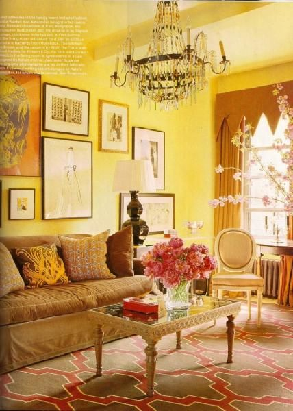 Living room pink and brown moroccan tile rug slipcpvered sofa black gourd lamp crystal chandelier yellow walls paint color also such  happy hello decor pinterest rh