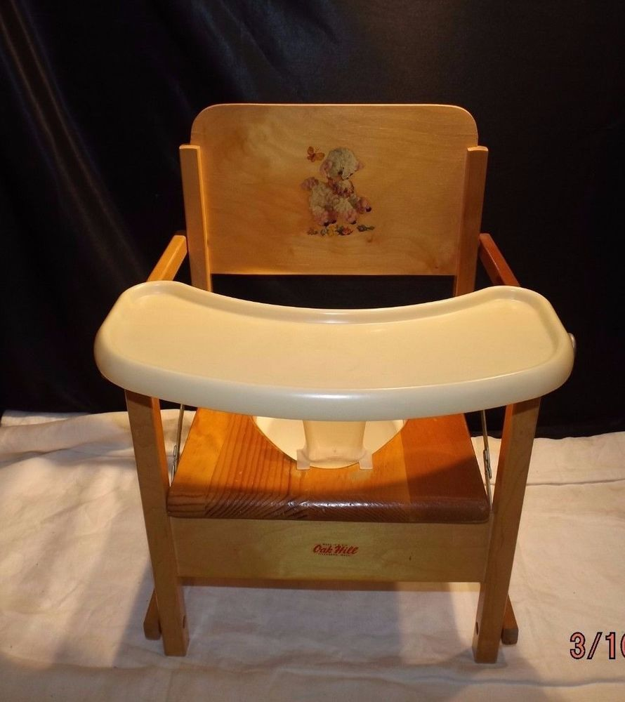 Vintage oak hill childs wooden potty chair with tray